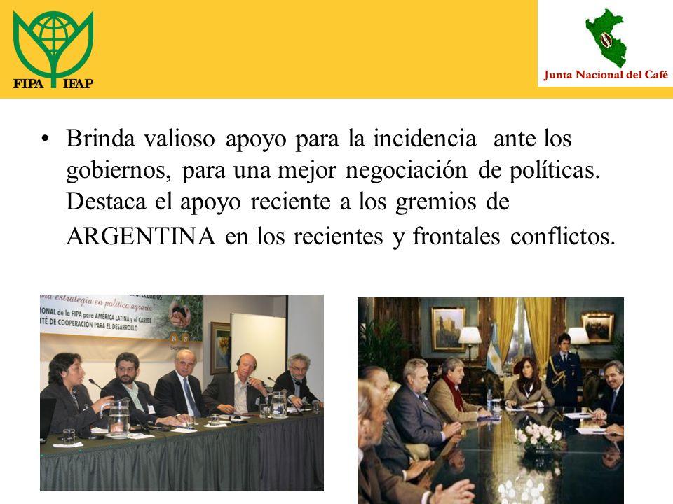 Brinda valioso apoyo para la incidencia ante los gobiernos, para una mejor negociación de políticas.