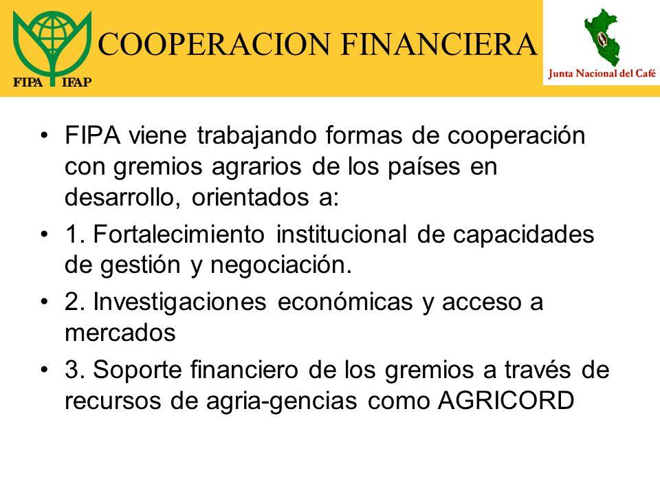 COOPERACION FINANCIERA FIPA viene trabajando formas de cooperación con gremios agrarios de los países en desarrollo, orientados a: 1.