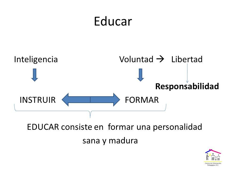 Educar Inteligencia Voluntad  Libertad Responsabilidad INSTRUIR FORMAR EDUCAR consiste en formar una personalidad sana y madura
