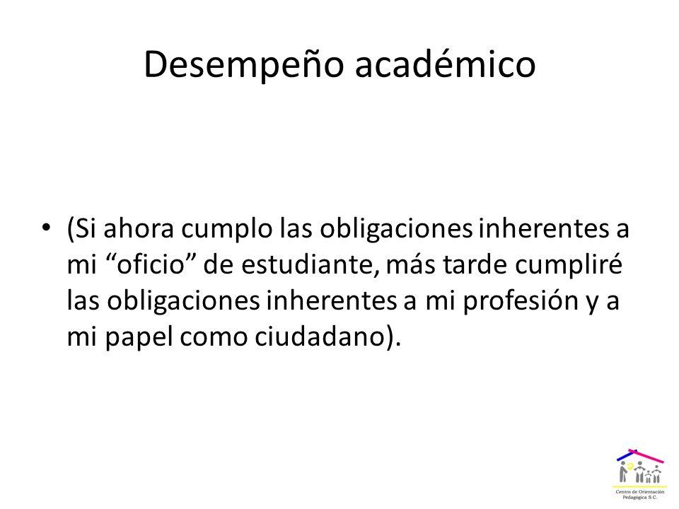 Desempeño académico (Si ahora cumplo las obligaciones inherentes a mi oficio de estudiante, más tarde cumpliré las obligaciones inherentes a mi profesión y a mi papel como ciudadano).
