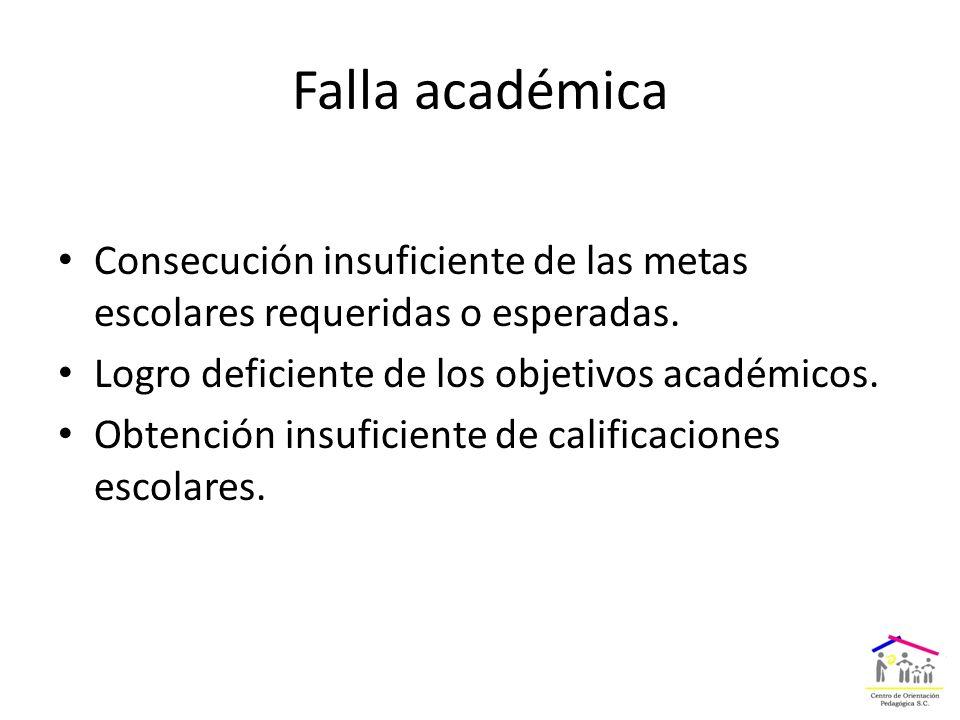 Falla académica Consecución insuficiente de las metas escolares requeridas o esperadas.
