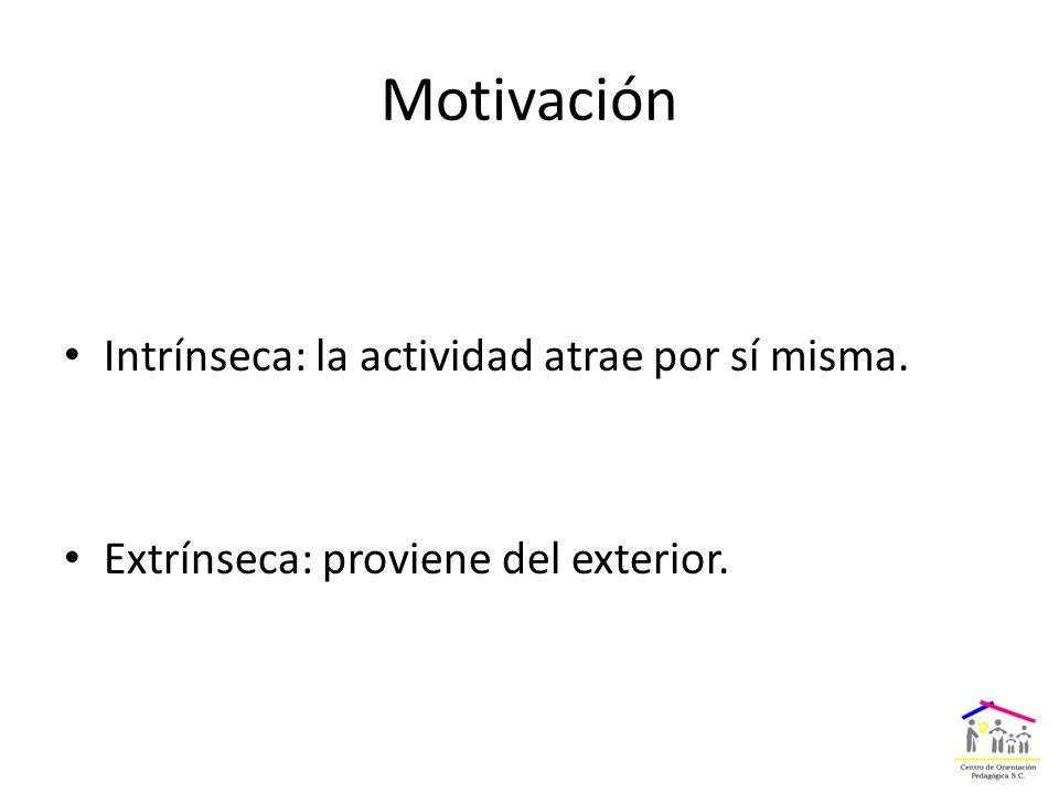 Motivación Intrínseca: la actividad atrae por sí misma. Extrínseca: proviene del exterior.