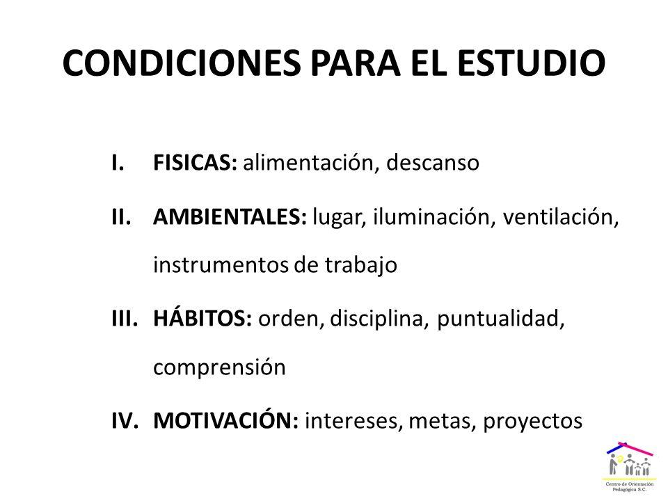 CONDICIONES PARA EL ESTUDIO I.FISICAS: alimentación, descanso II.AMBIENTALES: lugar, iluminación, ventilación, instrumentos de trabajo III.HÁBITOS: orden, disciplina, puntualidad, comprensión IV.MOTIVACIÓN: intereses, metas, proyectos