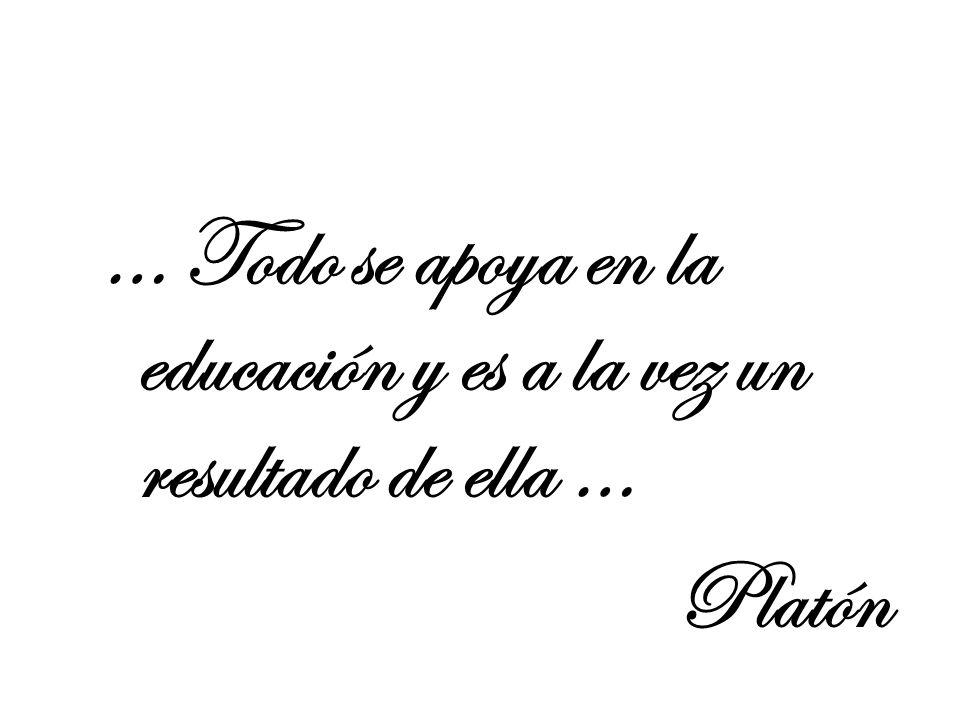 … Todo se apoya en la educación y es a la vez un resultado de ella … Platón