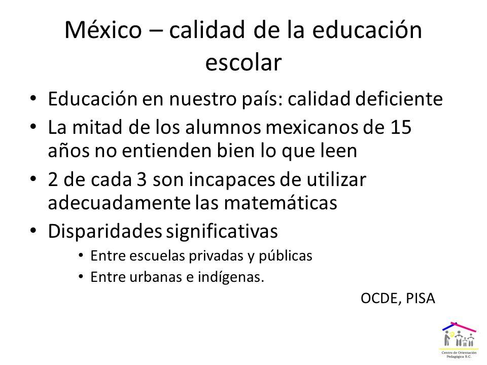 México – calidad de la educación escolar Educación en nuestro país: calidad deficiente La mitad de los alumnos mexicanos de 15 años no entienden bien lo que leen 2 de cada 3 son incapaces de utilizar adecuadamente las matemáticas Disparidades significativas Entre escuelas privadas y públicas Entre urbanas e indígenas.