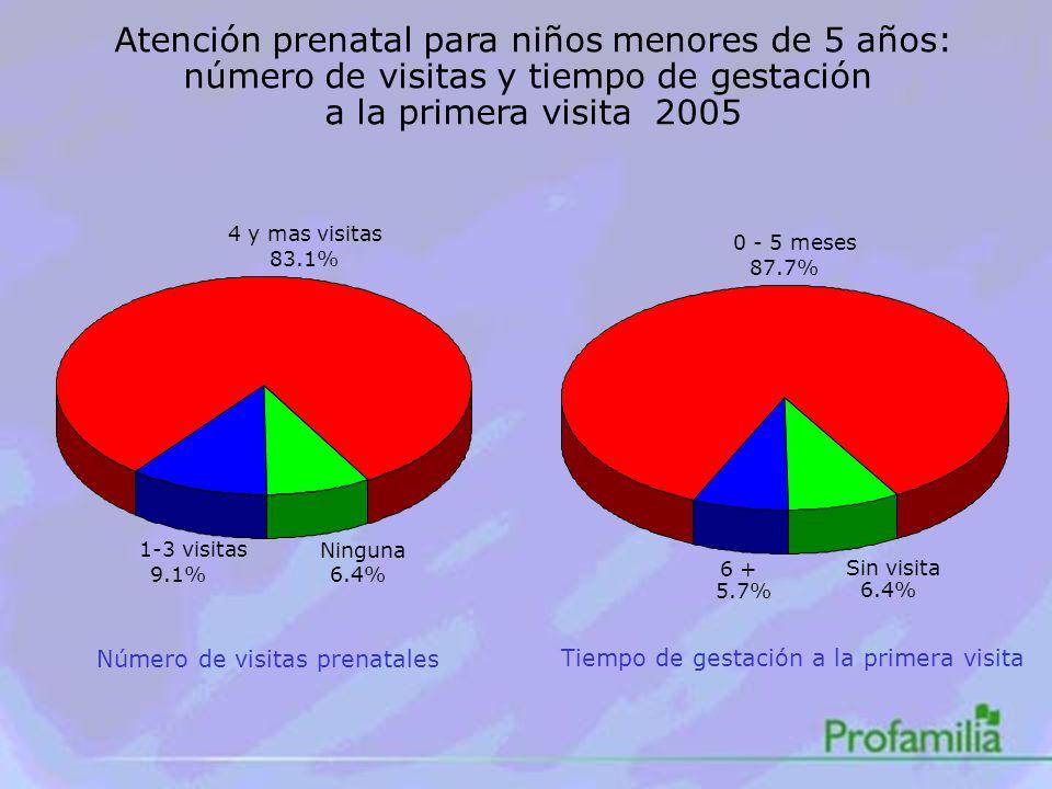 Atención prenatal para niños menores de 5 años: número de visitas y tiempo de gestación a la primera visita 2005 Ninguna 6.4% 1-3 visitas 9.1% 4 y mas visitas 83.1% Sin visita 6.4% 6 + 5.7% 0 - 5 meses 87.7% Número de visitas prenatales Tiempo de gestación a la primera visita