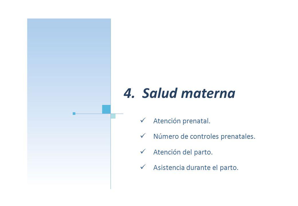4. Salud materna Atención prenatal. Número de controles prenatales.
