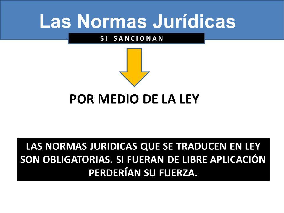 Las Normas Jurídicas S I S A N C I O N A N POR MEDIO DE LA LEY LAS NORMAS JURIDICAS QUE SE TRADUCEN EN LEY SON OBLIGATORIAS.
