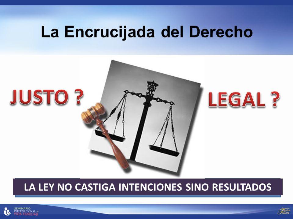 La Encrucijada del Derecho LA LEY NO CASTIGA INTENCIONES SINO RESULTADOS