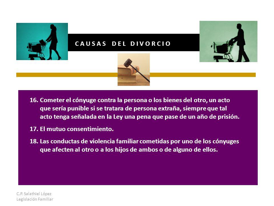 C.P. Salathiel López Legislación Familiar C A U S A S D E L D I V O R C I O 16.