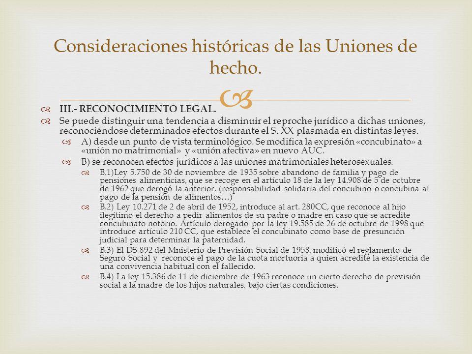   III.- RECONOCIMIENTO LEGAL.