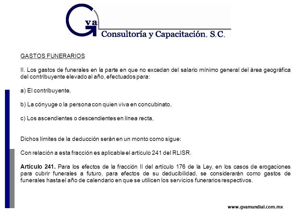 www.gvamundial.com.mx GASTOS FUNERARIOS II.