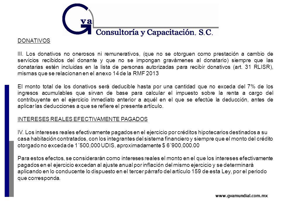 www.gvamundial.com.mx DONATIVOS III.
