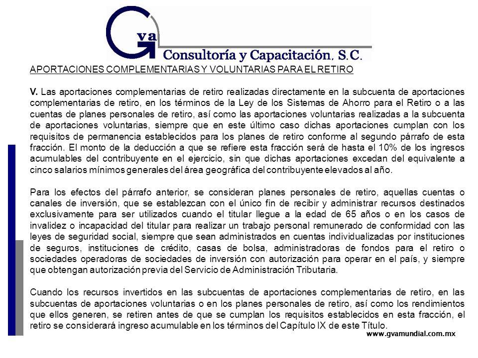 www.gvamundial.com.mx APORTACIONES COMPLEMENTARIAS Y VOLUNTARIAS PARA EL RETIRO V.