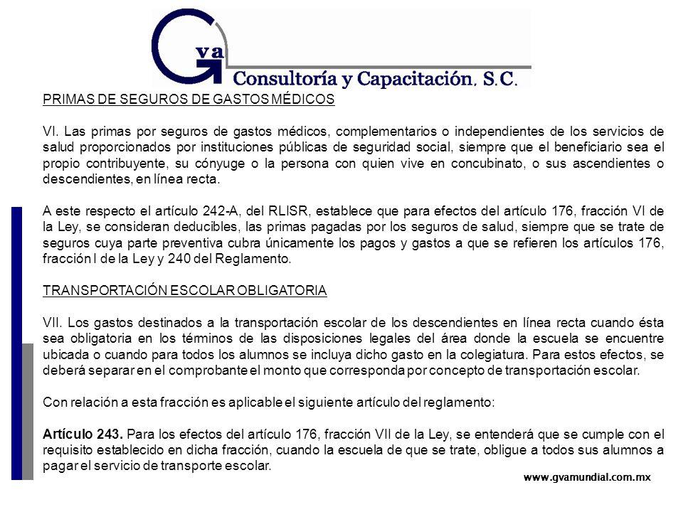 www.gvamundial.com.mx PRIMAS DE SEGUROS DE GASTOS MÉDICOS VI.