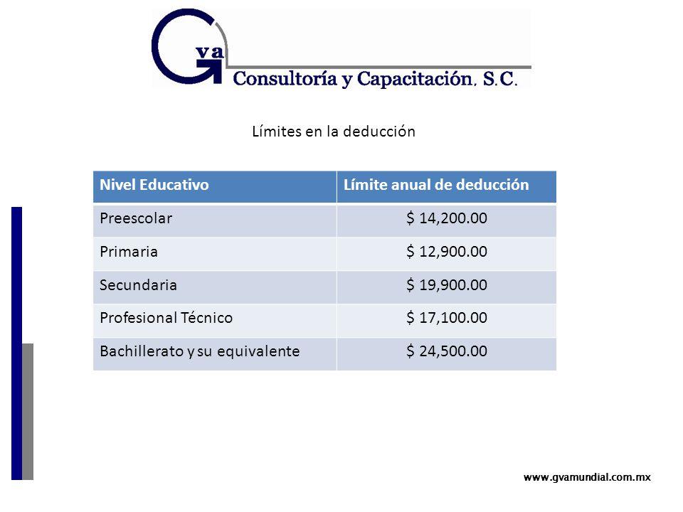 www.gvamundial.com.mx Nivel EducativoLímite anual de deducción Preescolar$ 14,200.00 Primaria$ 12,900.00 Secundaria$ 19,900.00 Profesional Técnico$ 17,100.00 Bachillerato y su equivalente$ 24,500.00 Límites en la deducción