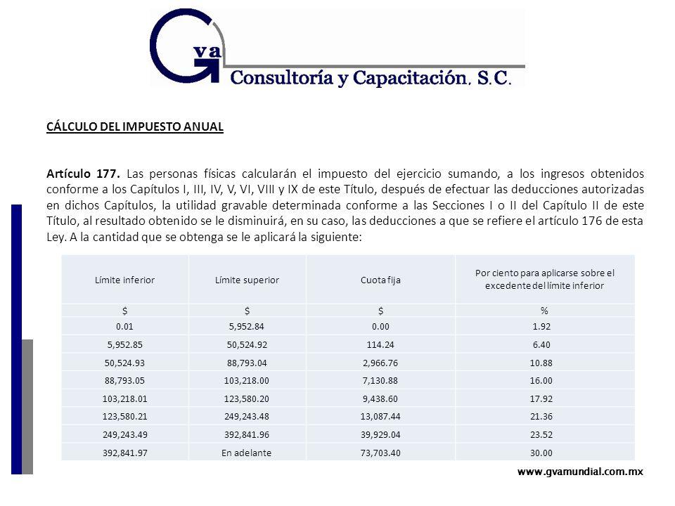 www.gvamundial.com.mx CÁLCULO DEL IMPUESTO ANUAL Artículo 177.
