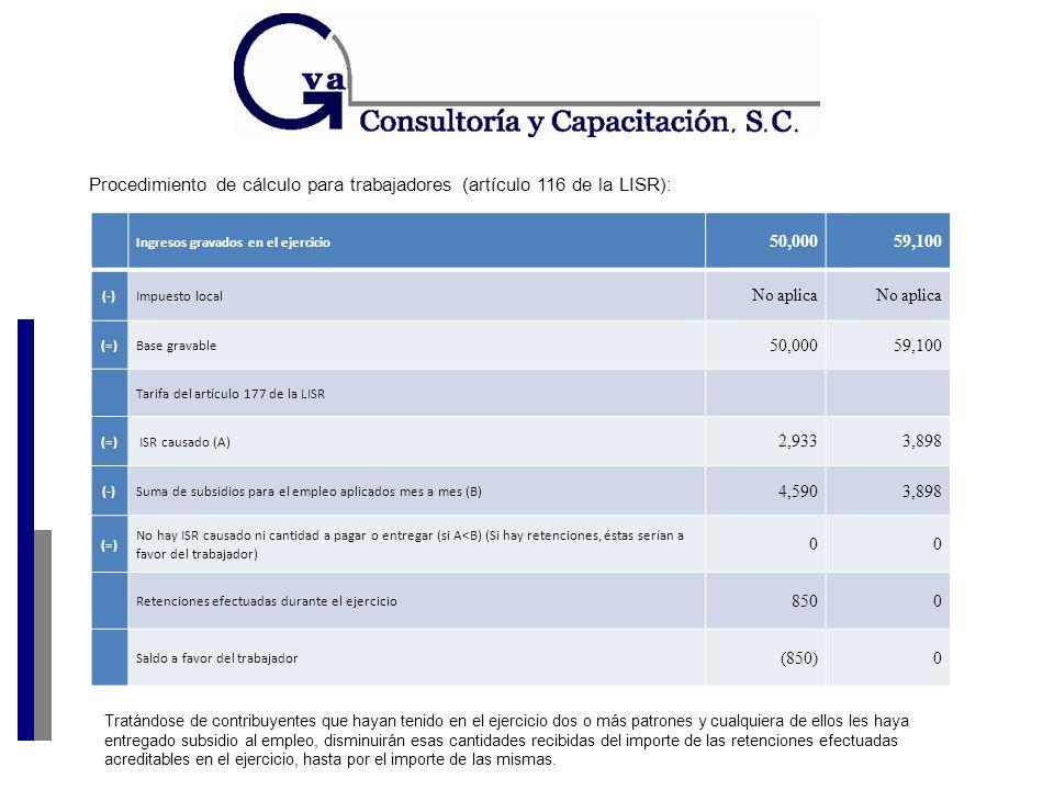 Ingresos gravados en el ejercicio 50,000 59,100 (-)Impuesto local No aplica (=)Base gravable 50,00059,100 Tarifa del artículo 177 de la LISR (=) ISR causado (A) 2,9333,898 (-)Suma de subsidios para el empleo aplicados mes a mes (B) 4,5903,898 (=) No hay ISR causado ni cantidad a pagar o entregar (si A<B) (Si hay retenciones, éstas serían a favor del trabajador) 00 Retenciones efectuadas durante el ejercicio 8500 Saldo a favor del trabajador (850)0 Tratándose de contribuyentes que hayan tenido en el ejercicio dos o más patrones y cualquiera de ellos les haya entregado subsidio al empleo, disminuirán esas cantidades recibidas del importe de las retenciones efectuadas acreditables en el ejercicio, hasta por el importe de las mismas.