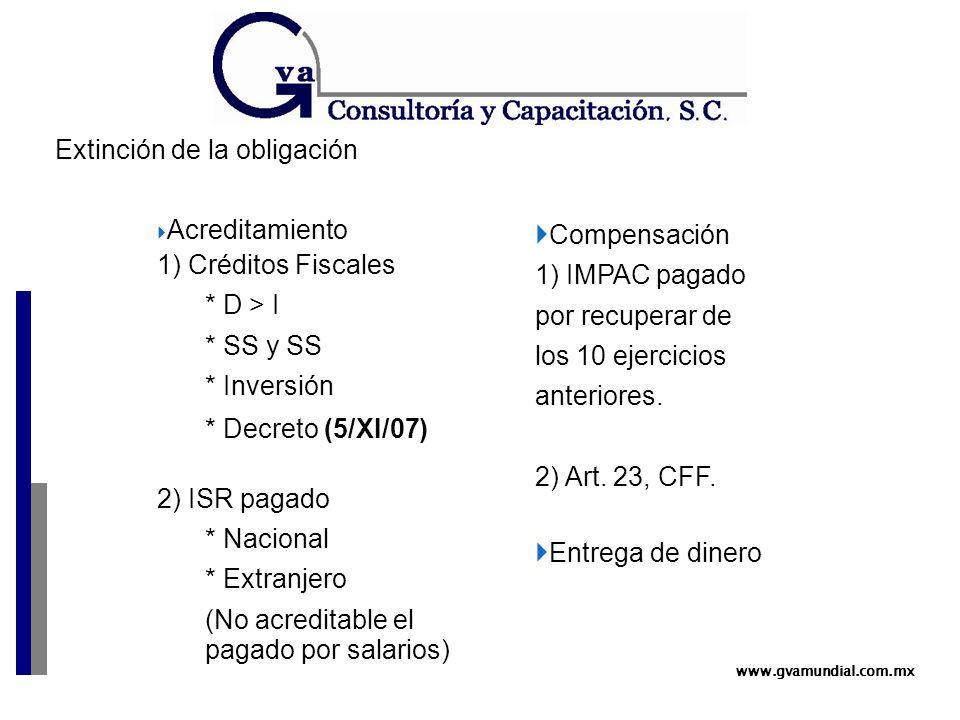 www.gvamundial.com.mx Extinción de la obligación  Acreditamiento 1) Créditos Fiscales * D > I * SS y SS * Inversión * Decreto (5/XI/07) 2) ISR pagado * Nacional * Extranjero (No acreditable el pagado por salarios)  Compensación 1) IMPAC pagado por recuperar de los 10 ejercicios anteriores.