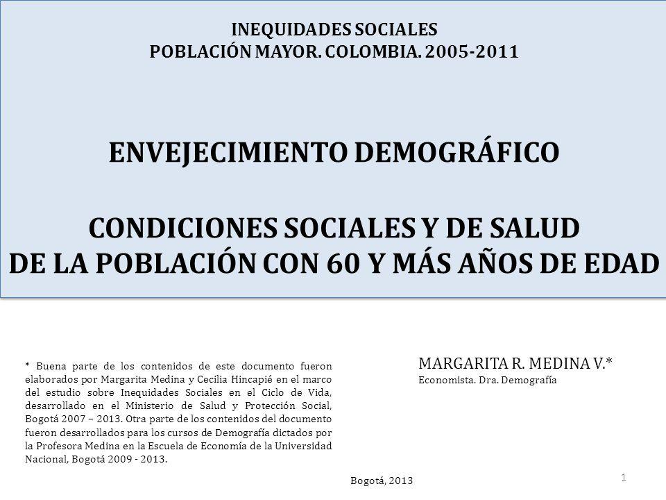 INEQUIDADES SOCIALES POBLACIÓN MAYOR. COLOMBIA.