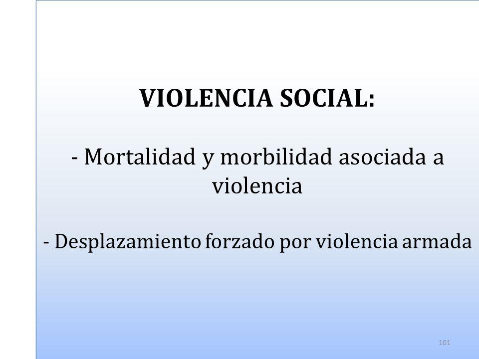 VIOLENCIA SOCIAL: - Mortalidad y morbilidad asociada a violencia - Desplazamiento forzado por violencia armada 101