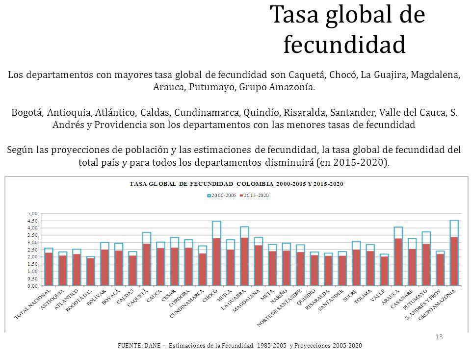 Tasa global de fecundidad Los departamentos con mayores tasa global de fecundidad son Caquetá, Chocó, La Guajira, Magdalena, Arauca, Putumayo, Grupo Amazonía.