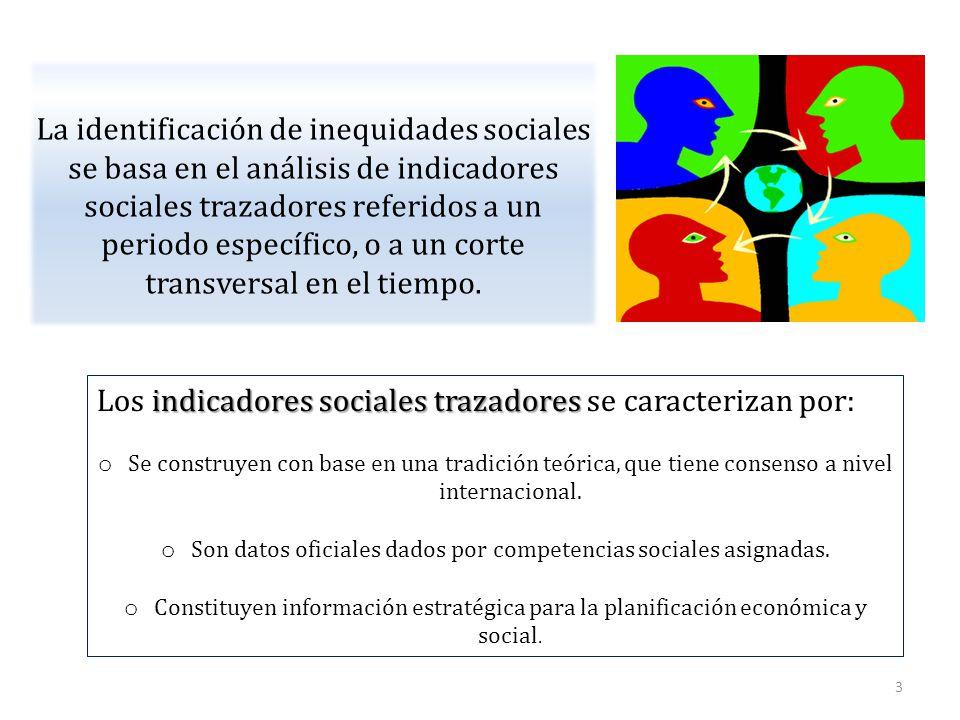 La identificación de inequidades sociales se basa en el análisis de indicadores sociales trazadores referidos a un periodo específico, o a un corte transversal en el tiempo.