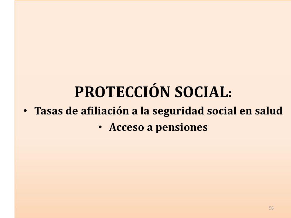 PROTECCIÓN SOCIAL : Tasas de afiliación a la seguridad social en salud Acceso a pensiones PROTECCIÓN SOCIAL : Tasas de afiliación a la seguridad social en salud Acceso a pensiones 56