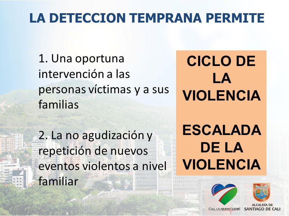 1. Una oportuna intervención a las personas víctimas y a sus familias 2.