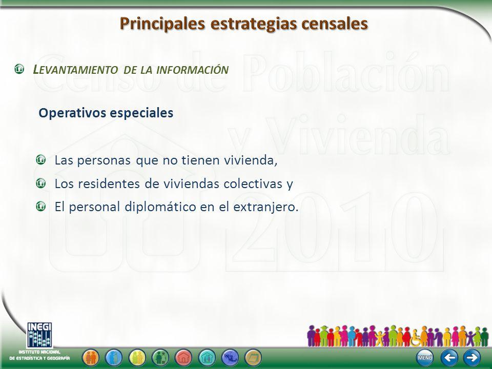 L EVANTAMIENTO DE LA INFORMACIÓN Operativos especiales Las personas que no tienen vivienda, Los residentes de viviendas colectivas y El personal diplomático en el extranjero.