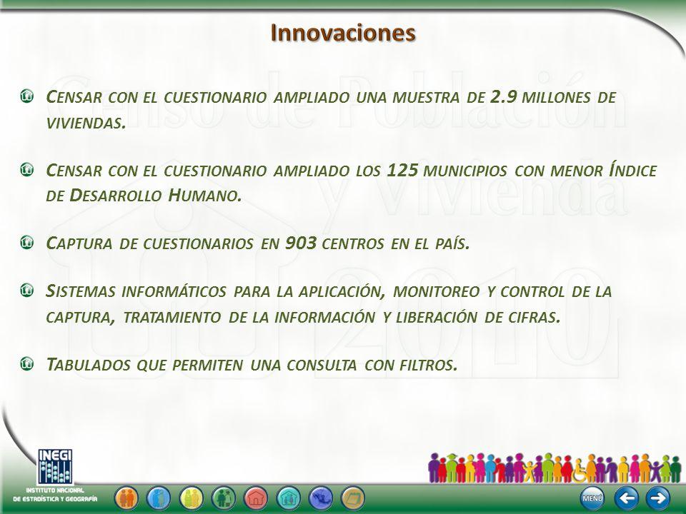 C ENSAR CON EL CUESTIONARIO AMPLIADO UNA MUESTRA DE 2.9 MILLONES DE VIVIENDAS.