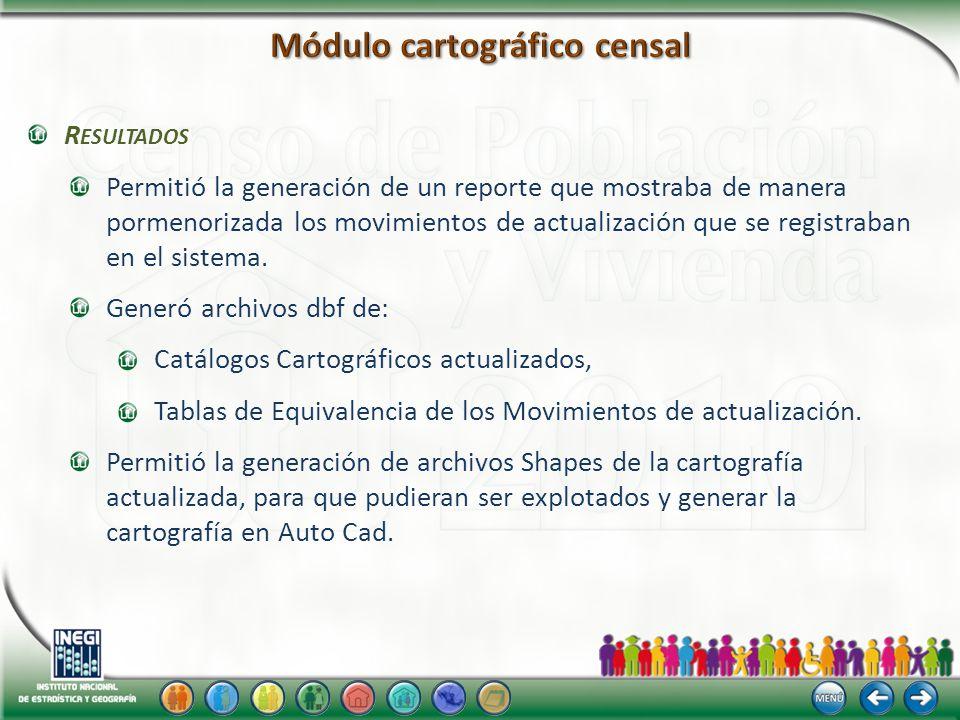 R ESULTADOS Permitió la generación de un reporte que mostraba de manera pormenorizada los movimientos de actualización que se registraban en el sistema.