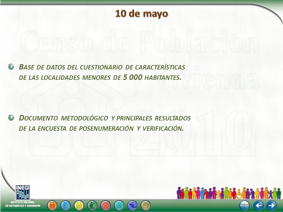 B ASE DE DATOS DEL CUESTIONARIO DE CARACTERÍSTICAS DE LAS LOCALIDADES MENORES DE 5 000 HABITANTES.