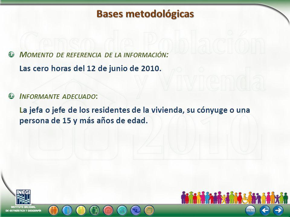 M OMENTO DE REFERENCIA DE LA INFORMACIÓN : Las cero horas del 12 de junio de 2010.