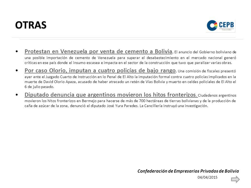 OTRAS Protestan en Venezuela por venta de cemento a Bolivia.