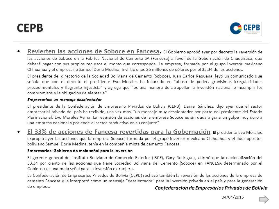 CEPB Revierten las acciones de Soboce en Fancesa.