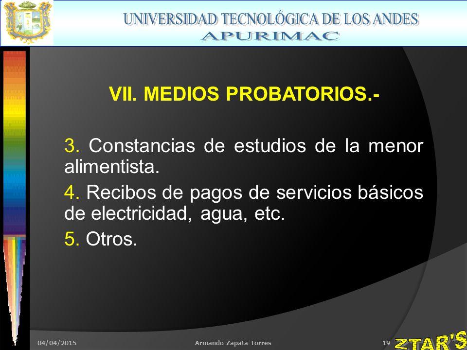 04/04/2015Armando Zapata Torres19 VII. MEDIOS PROBATORIOS.- 3.