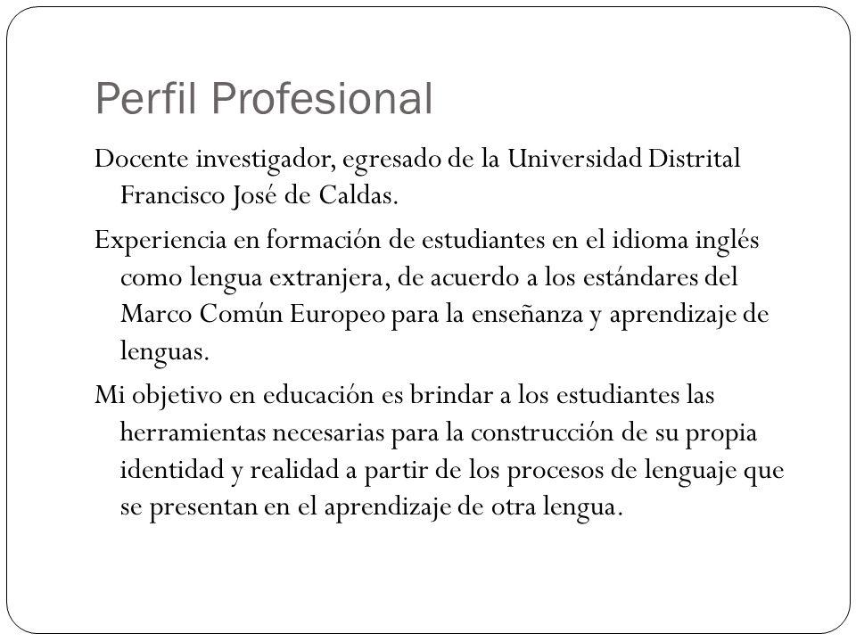Perfil Profesional Docente investigador, egresado de la Universidad Distrital Francisco José de Caldas.