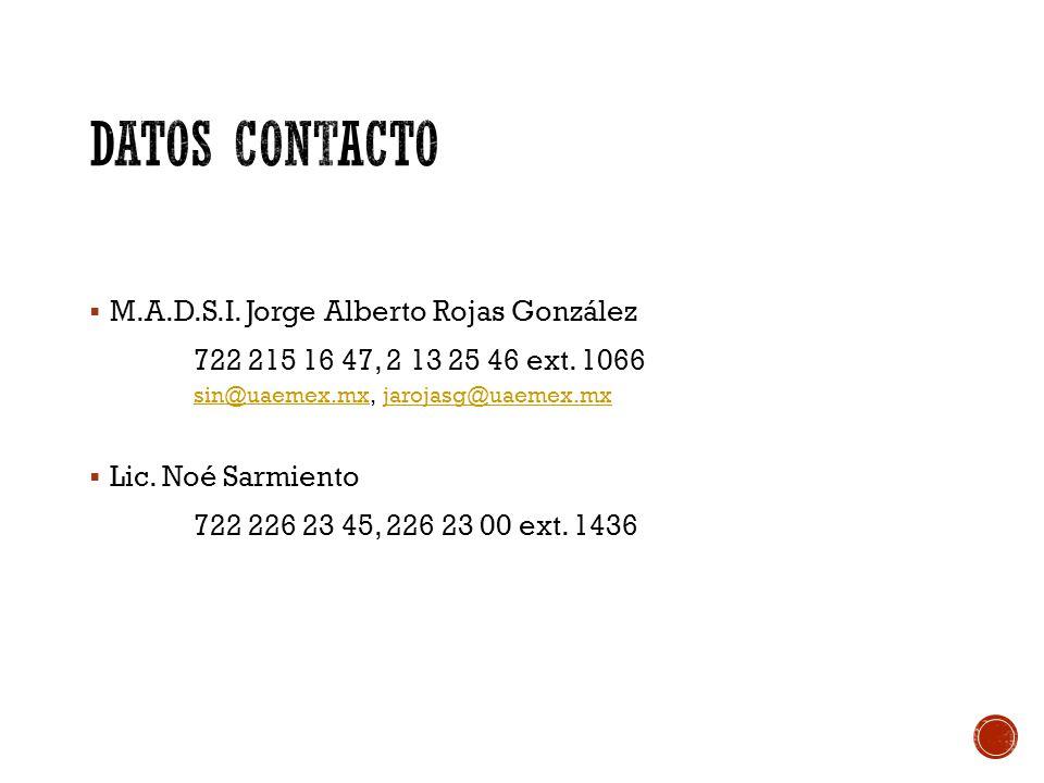  M.A.D.S.I. Jorge Alberto Rojas González 722 215 16 47, 2 13 25 46 ext.