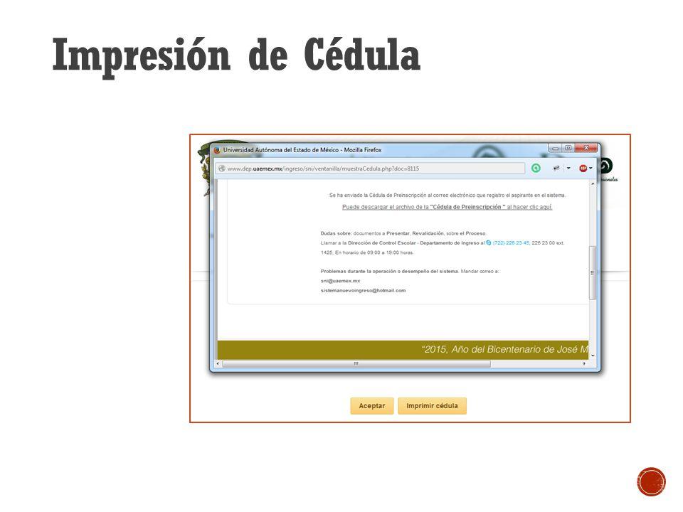 Impresión de Cédula