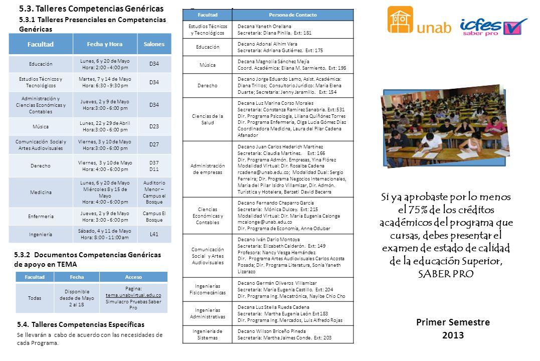 Si ya aprobaste por lo menos el 75% de los créditos académicos del programa que cursas, debes presentar el examen de estado de calidad de la educación Superior, SABER PRO Primer Semestre 2013 5.3.