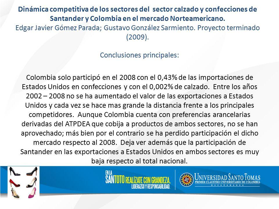 Dinámica competitiva de los sectores del sector calzado y confecciones de Santander y Colombia en el mercado Norteamericano.