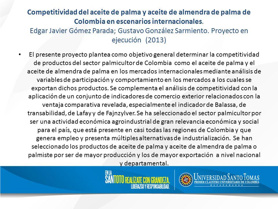 Competitividad del aceite de palma y aceite de almendra de palma de Colombia en escenarios internacionales.