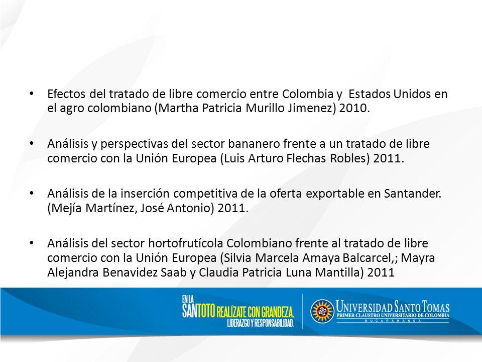 Efectos del tratado de libre comercio entre Colombia y Estados Unidos en el agro colombiano (Martha Patricia Murillo Jimenez) 2010.