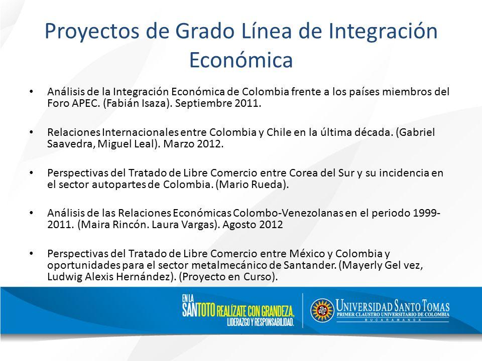 Proyectos de Grado Línea de Integración Económica Análisis de la Integración Económica de Colombia frente a los países miembros del Foro APEC.