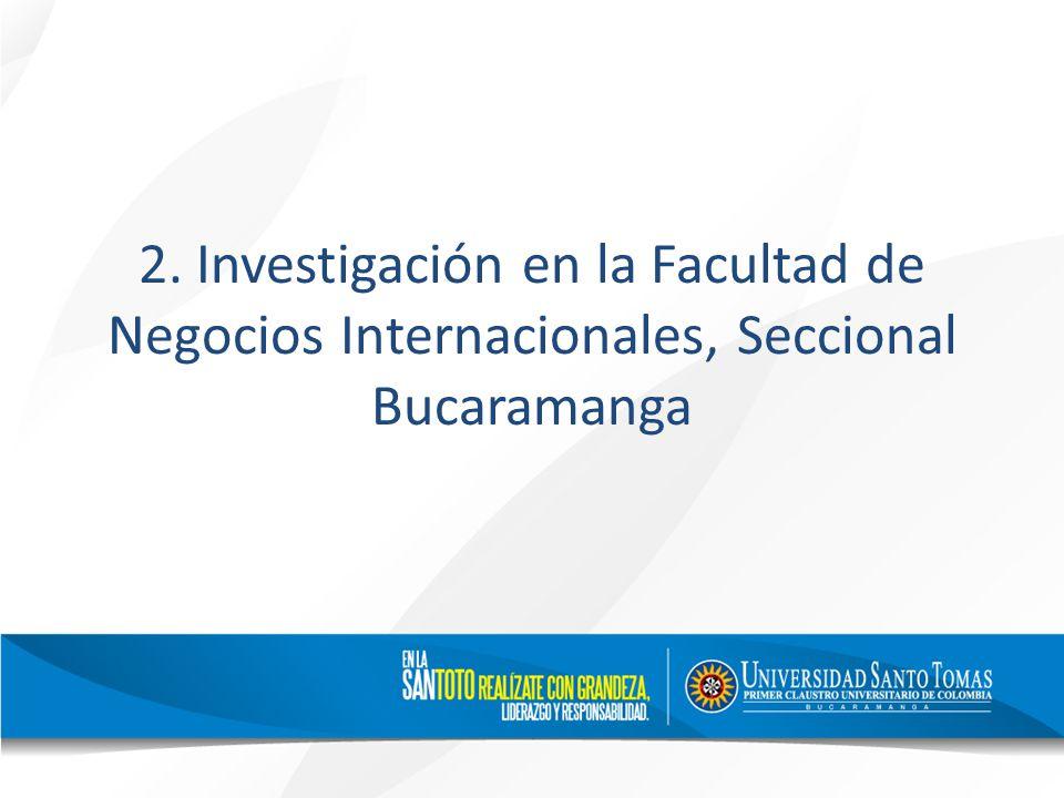 2. Investigación en la Facultad de Negocios Internacionales, Seccional Bucaramanga