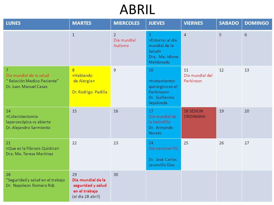ABRIL LUNESMARTESMIERCOLESJUEVESVIERNESSABADODOMINGO 12 Día mundial Autismo 3 «Entorno al día mundial de la Salud» Dra.