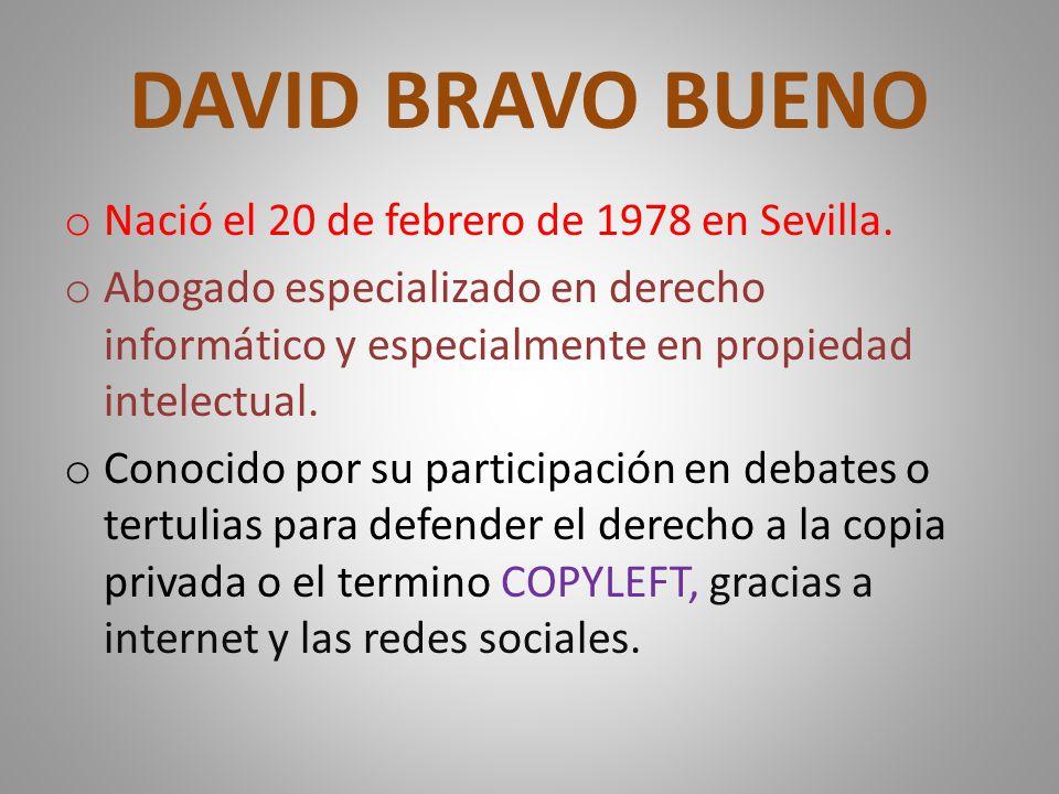 DAVID BRAVO BUENO o Nació el 20 de febrero de 1978 en Sevilla.