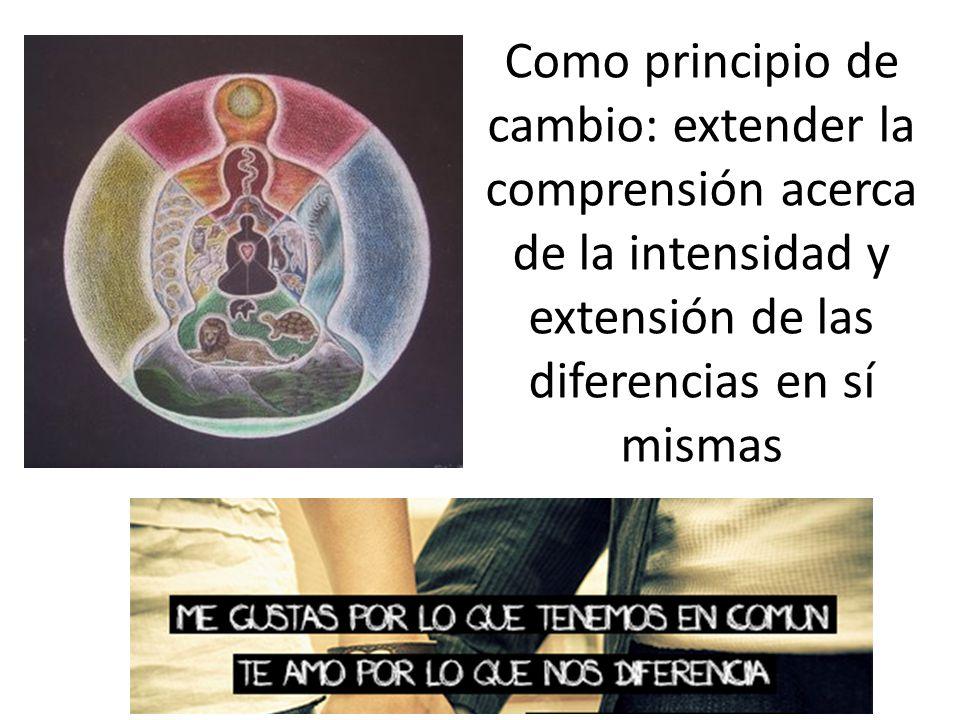Como principio de cambio: extender la comprensión acerca de la intensidad y extensión de las diferencias en sí mismas