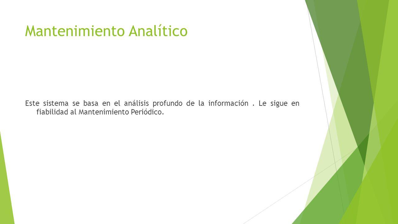 Mantenimiento Analítico Este sistema se basa en el análisis profundo de la información.